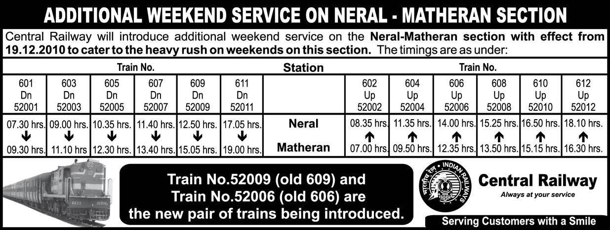 Additional Weekend Service On Neral Matheran Section