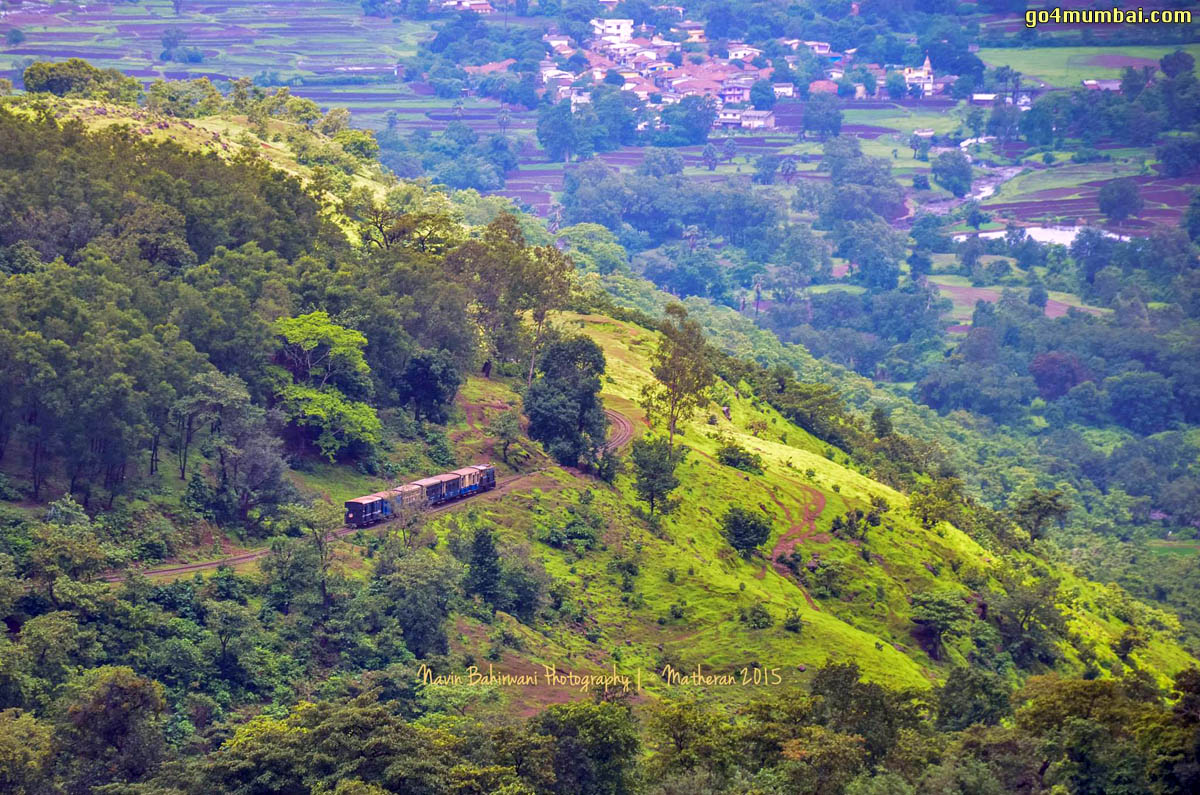 Arial view of toy train in mountain