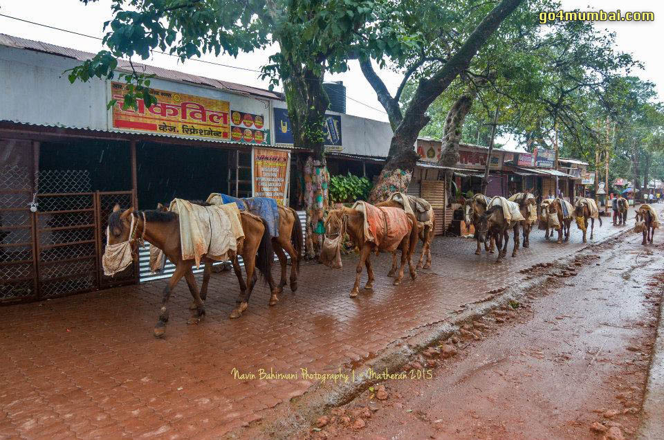 Matheran Market view with Horses