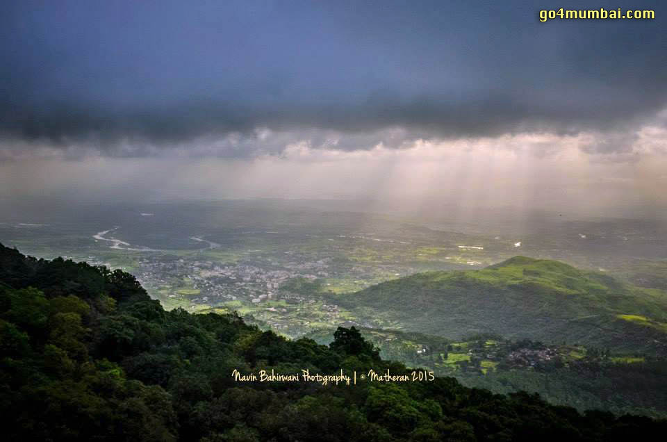 Stunning Matheran Top View of Neral with Clouds and Sunrays