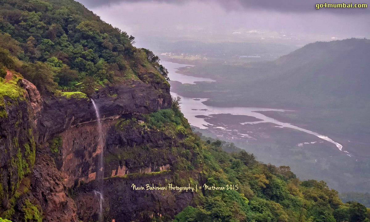 Stunning view of Waterfall in Matheran Mountain